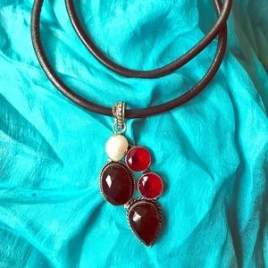 Jewelry - Large Garnet and Pearl pendant